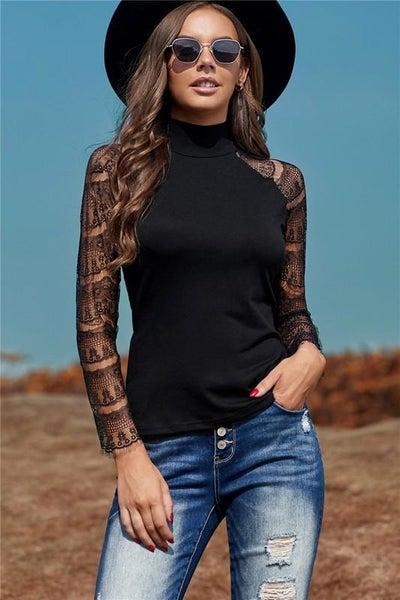 Black Expert Lace Crochet Long Sleeve Top