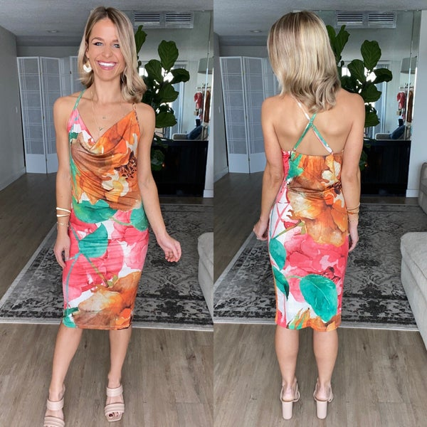 Stunning Watercolor Floral Midi Dress | Adjustable Straps