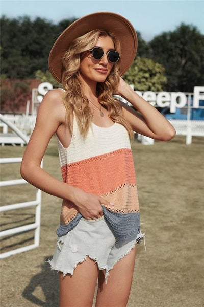 Summer Coral Colorblock Light Knit Tank Top