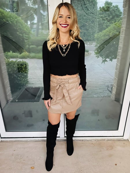 Latte Leather Belted Mid Thigh Pocket Stretchy Skirt