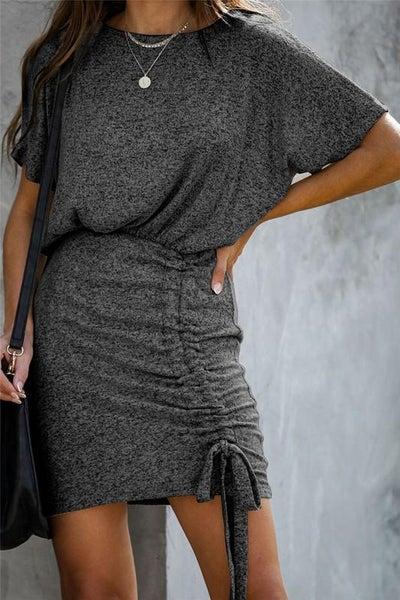 Heather Black Adjustable Hem Ruched Dress
