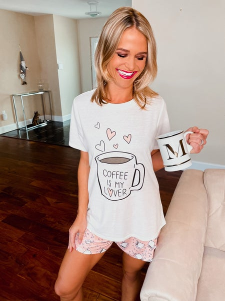 *BEST SELLER* Coffee Is My Lover Top & Shorts Pajama Set
