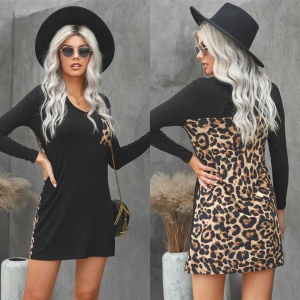 Black Leopard Contrast Long Sleeve Pocket Dress