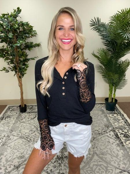 Black Crochet Lace Hem Sleeve Button Top