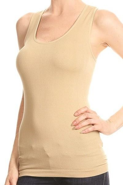 Nude Ribbed Stretchy Racerback Tank