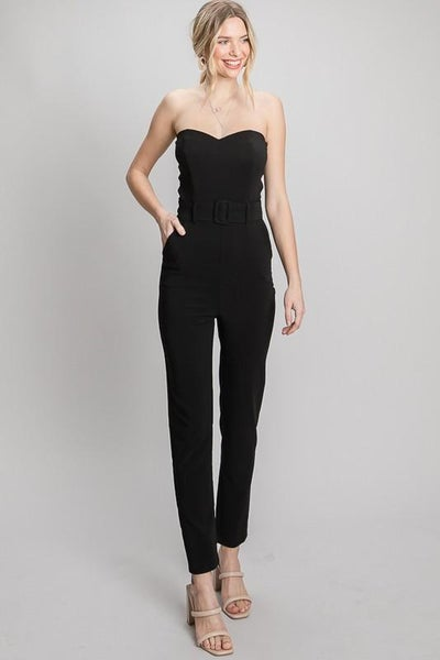 Black Stretchy Twill Strapless Buckled Jumpsuit | Pockets