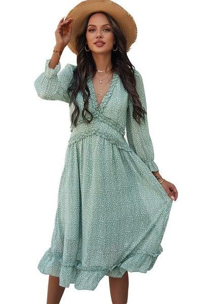 Light Green V Neck Floral Textured Midi Dress