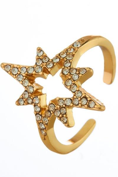 Gold Open Ended Starburst Ring