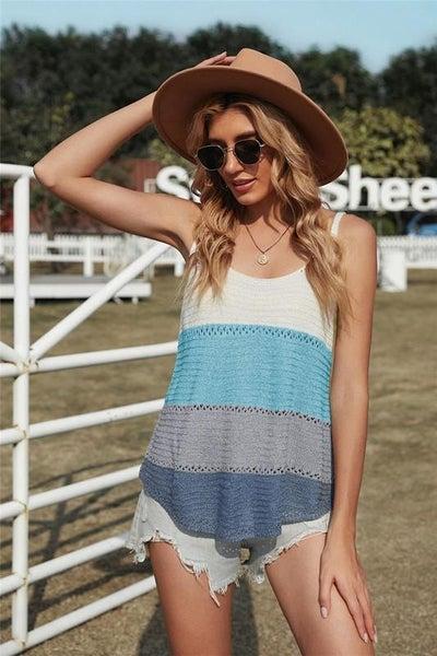 Summer Blues Colorblock Light Knit Tank Top