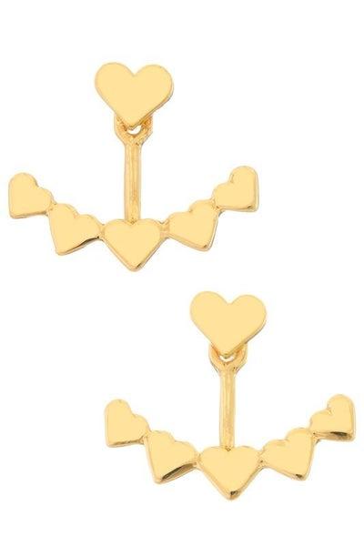 Gold Heart Jacket Earrings