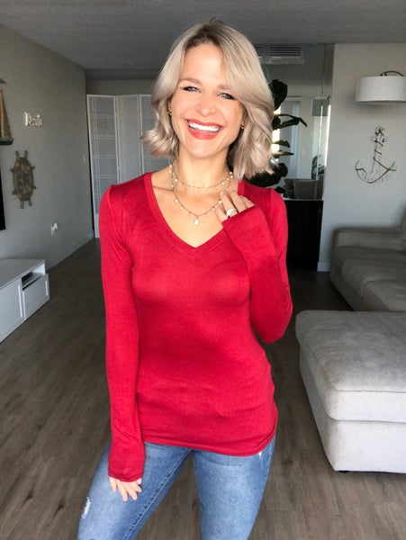 Red Long Sleeve V-Neck Chill Chick Top