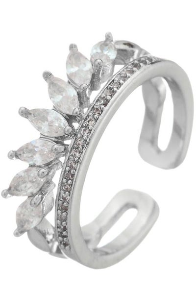 Silver Two Layer Paved Crystal Ring