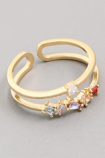 Double Band Studded Ring - Gold