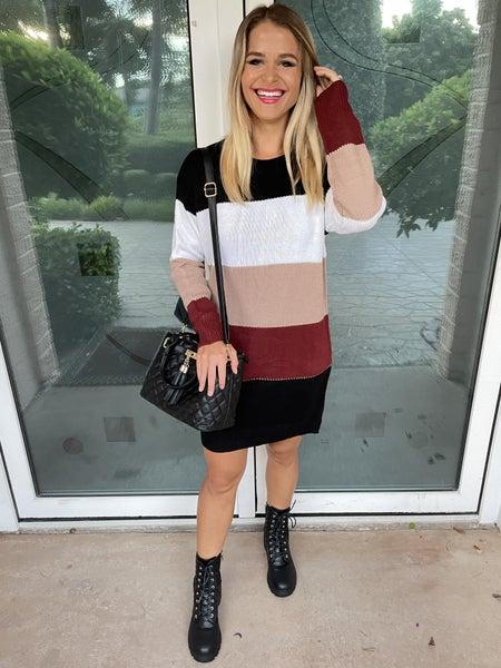 Burgundy Mix Color Block Fall Sweater Dress