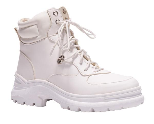 White Lace Up Ankle Combat Boots