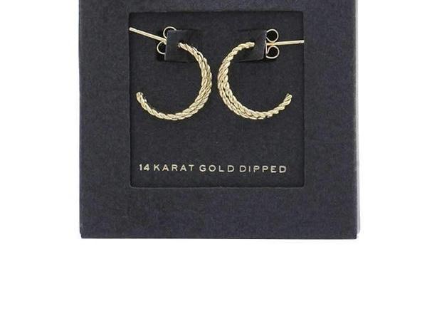 14 Karat Gold Double Hoop Huggie Earrings