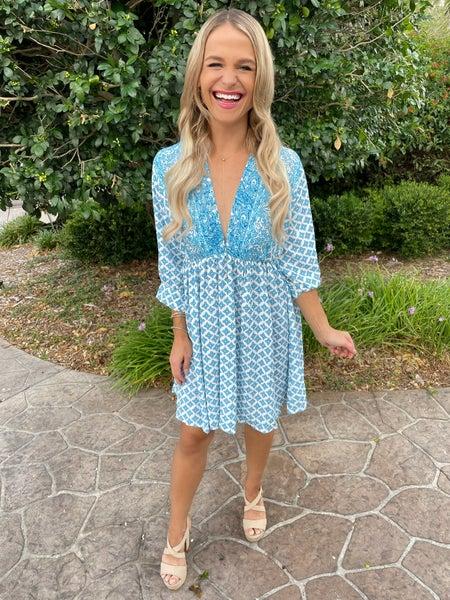 Blue Bohemian Vintage Three Quarter Sleeve Mini Dress