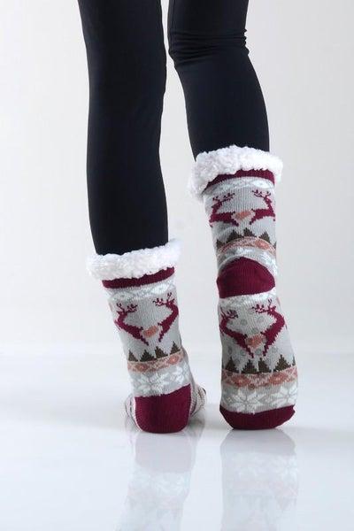 Reindeer Grey Burgundy Holiday Faux Sherpa Slipper Socks