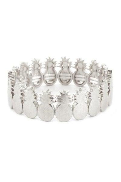 Silver Pineapple Charm Stretch Bracelet