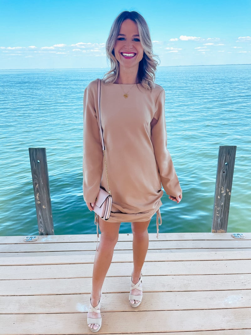 British Tan Sand Long Sleeve Double Drawstring Adjustable Ruched Dress