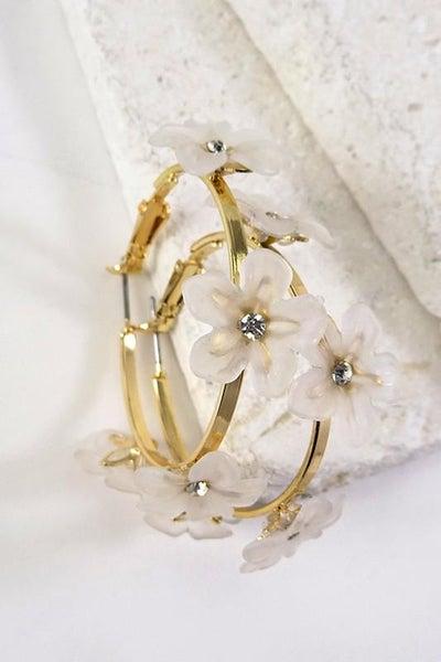 White & Gold Floral Hoop Earrings