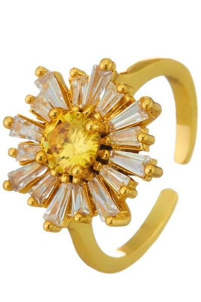 Gold Flower Baguette Adjustable Ring