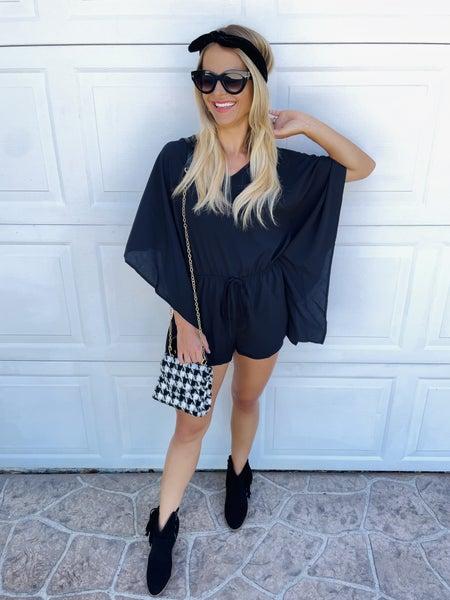 Black Boho Kimono Sleeve Romper