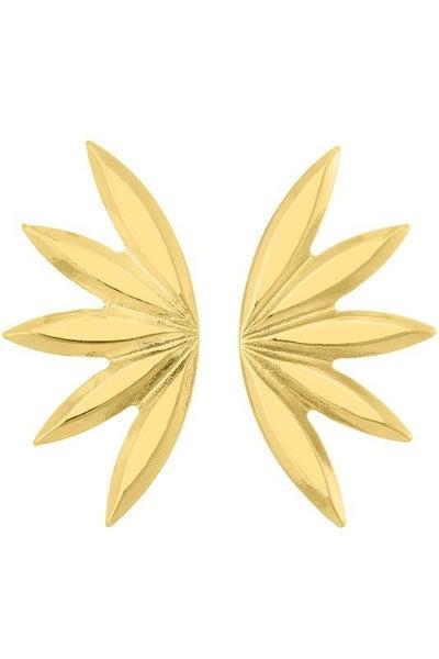 Gold Fan Shaped Earrings