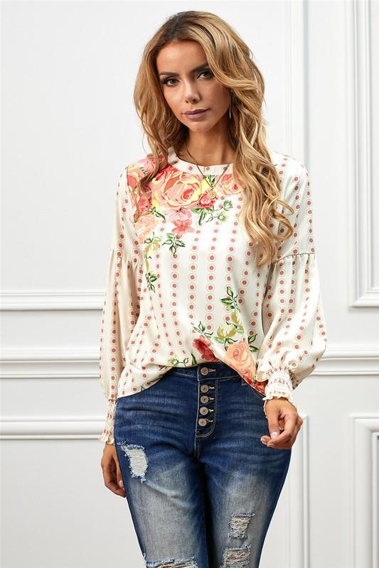 Apricot Cascading Florals Stretchy Chic Blouse