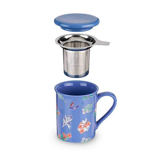 Blue Ceramic Tea Flower Tea Mug & Infuser