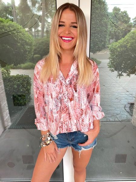 FALLing in Love Pink Printed Long Sleeve Blouse