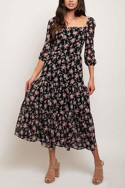 Black Fall Florals Smocked Midi Dress