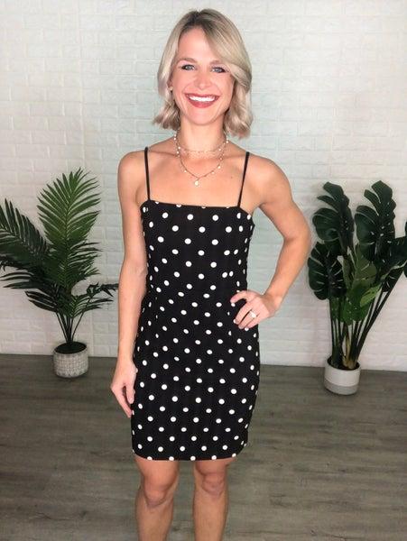 Black Polka Dot Stretchy Dress w/ Adjustable Straps