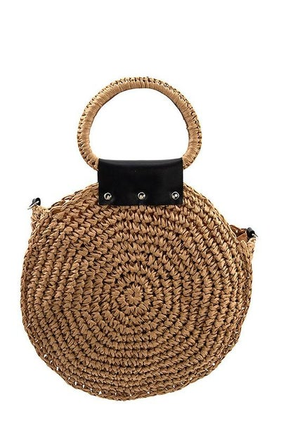 Bohemian Khaki Round Woven Tote Crossbody Handbag