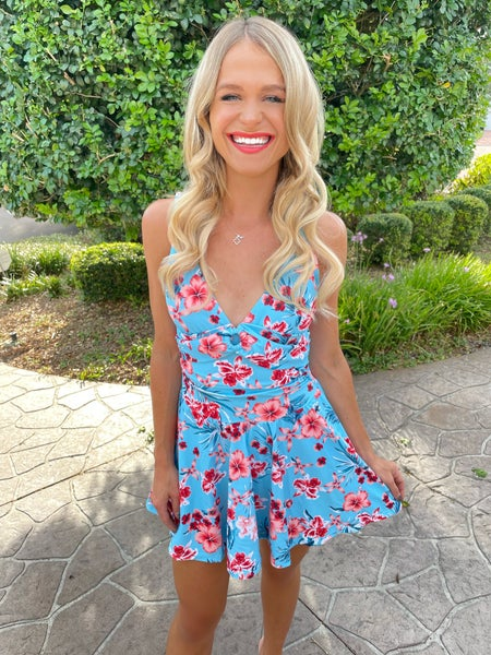 Sweet Aqua Floral Swim Dress Swimsuit
