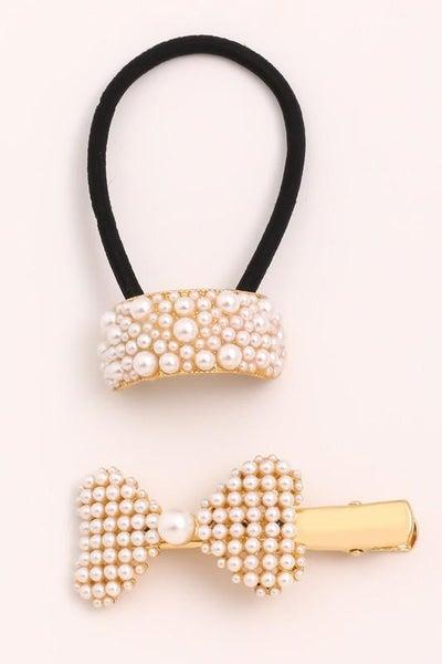 Pearl Ribbon Ponytail Cuff & Pearl Bow Clip Hair Set
