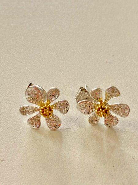 14 Karat White Gold Dipped Flower Earrings