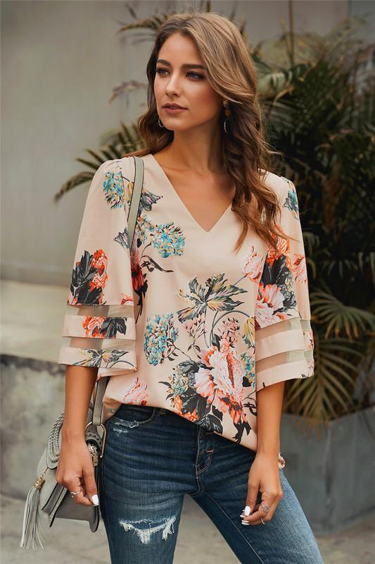 Apricot Quarter Sleeve Flared Sleeve Floral Blouse