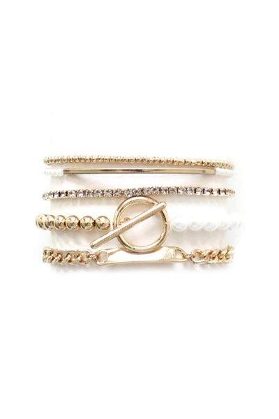 Gold & Pearl Charm Toggle Clasp Bracelet Set