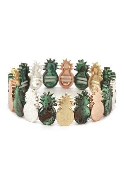 Mixed Pineapple Charm Stretch Bracelet