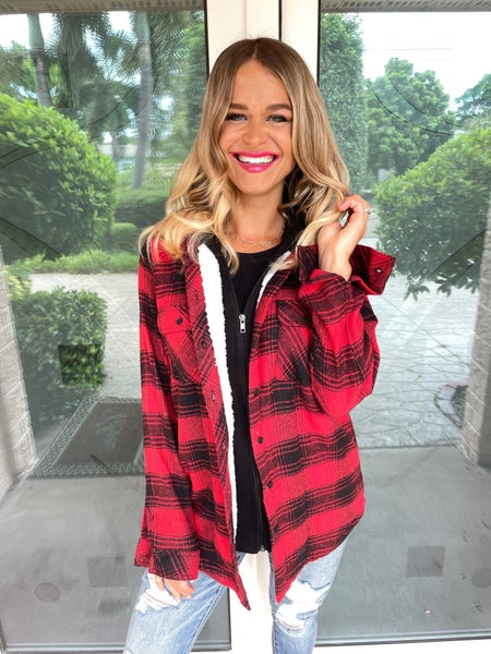 Red & Black Plaid Button + Zip Up Sherpa Lined Hoodie