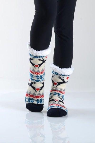 Cream Reindeer Holiday Faux Sherpa Slipper Socks