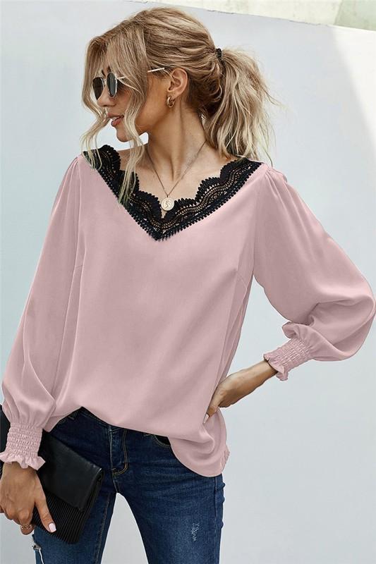 Pink Crochet Lace Scalloped V-Neck Blouse