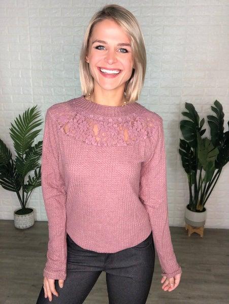 Mauve Soft Knit Lace Detail Top - Stretchy