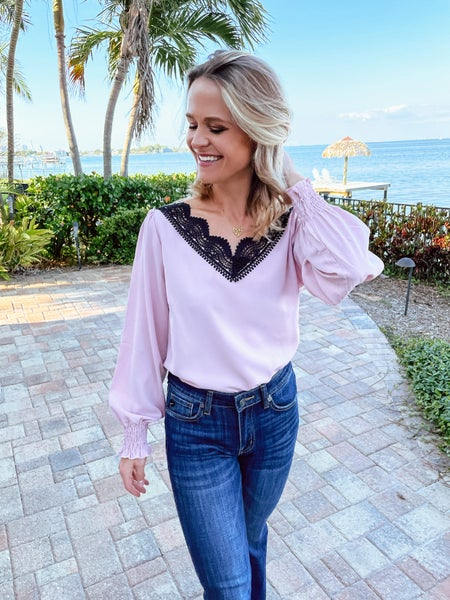 Pink Crochet Lace Scalloped V-Neck Blouse