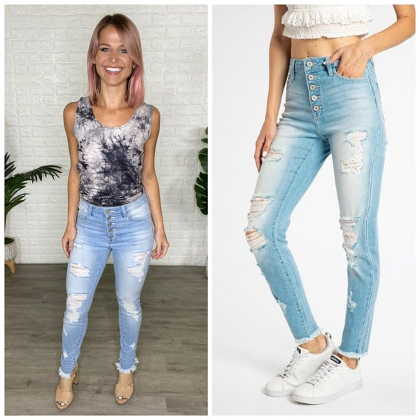 KanCan Light Wash High Rise Button Fly Ankle Skinny Jeans