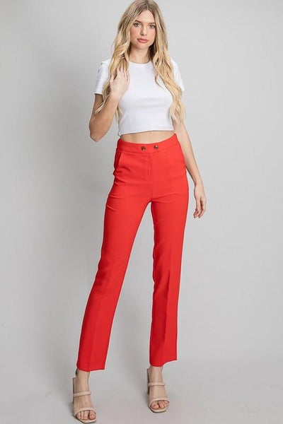 Red Twill Double Button Fly Slack Pants