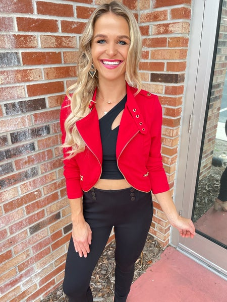 Red Summer Cropped Moto Jacket