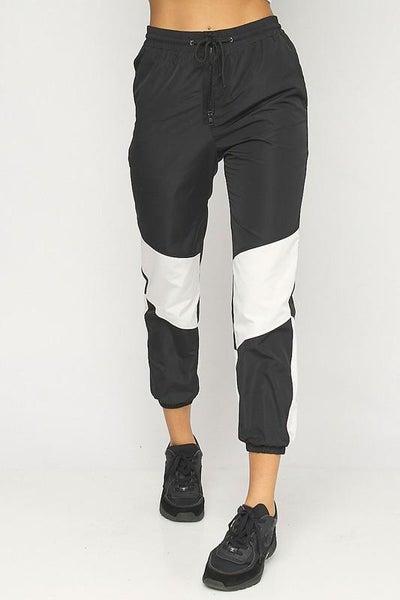 Black White Color Block Waterproof Joggers