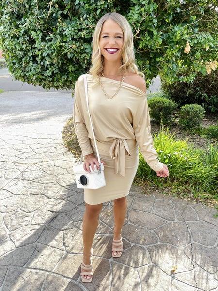 Champagne Dolman Sleeve Sabrina Neckline Belt Tie Dress